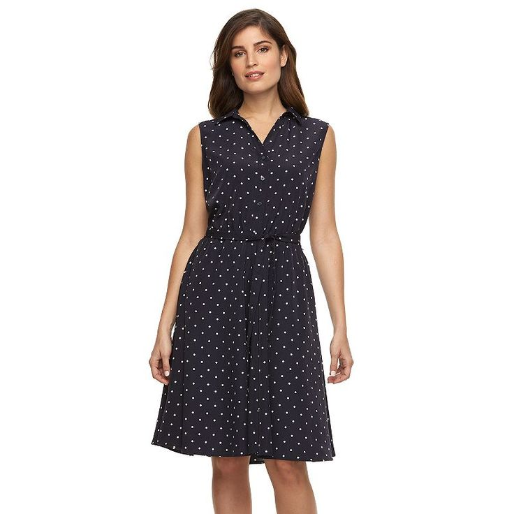 Women's Larry Levine Polka-Dot Shirtdress, Light Grey