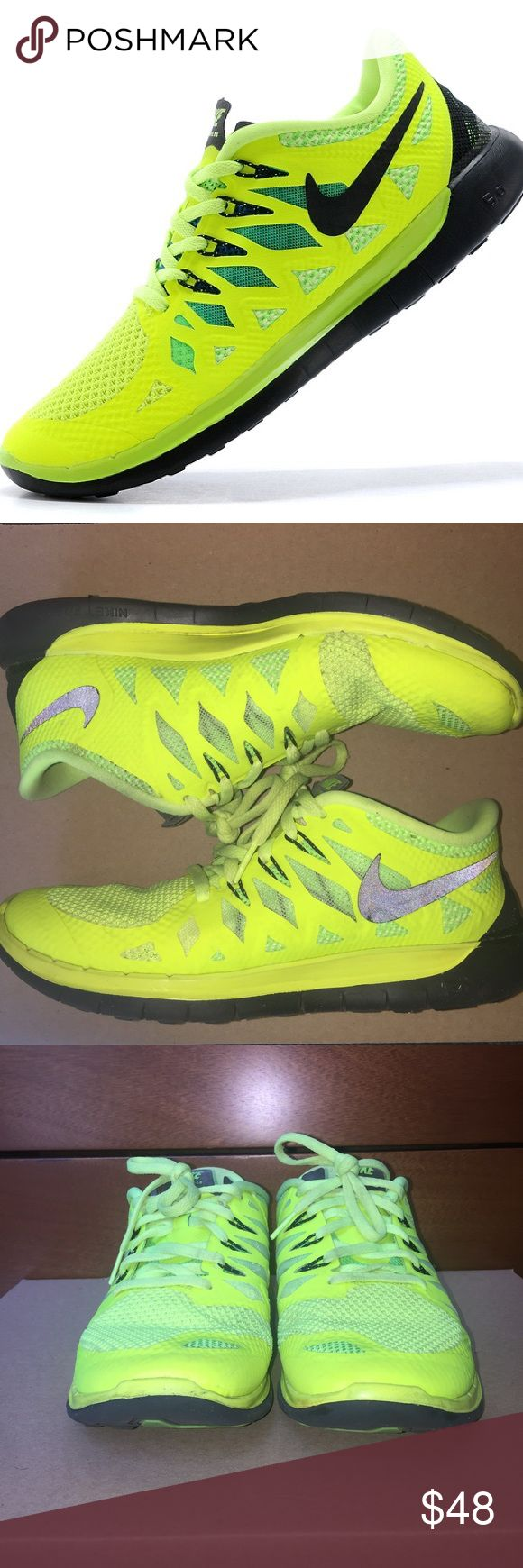 NIKE | Neon Yellow Free Run 5.0 Sneakers 6.5Y/8W 💜Neon yellow/green & black (look brighter in person)       💜Nike check mark is reflective so appears light due to the camera flash but is actually black as shown in first pic                               💜Youth size 6.5, equivalent to Women's size 8                    💜Worn a bit & some signs of wear but still in good used condition overall (7/10) & have a lot of wear left in them                                   🚫TRADES🚫Questions?…
