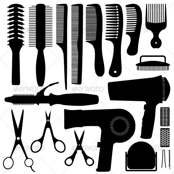 Hair Accessories Silhouette Vector — Vector EPS #scissor #tool • Available here → https://graphicriver.net/item/hair-accessories-silhouette-vector/126980?ref=pxcr