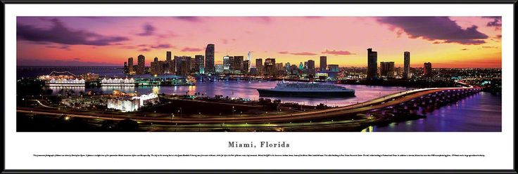 Miami Skyline Panoramic Picture Framed, Florida