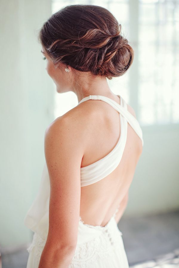 Love the hair and the back of this wedding gown!