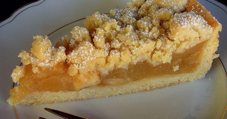 Zutaten Für den Boden: 200 g Mehl 80 g Zucker 80 g Butter 1 Ei(er) 1/2 Pck. Backpulver Für die Füllung: 2 Äpf...