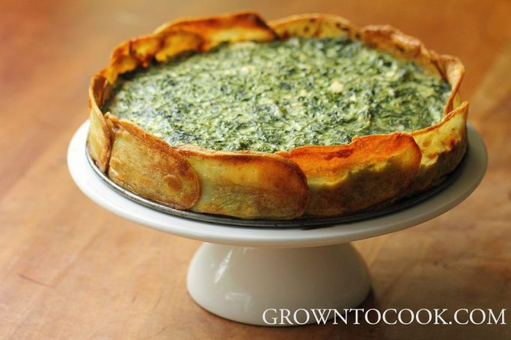 Spinach and herb torta in potato crust