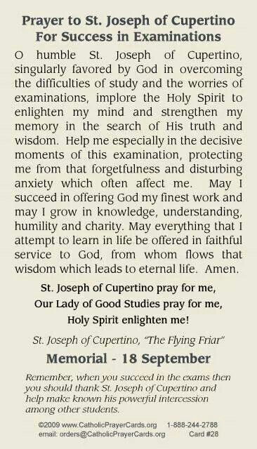St jos. Cupertino. Prayer for exam