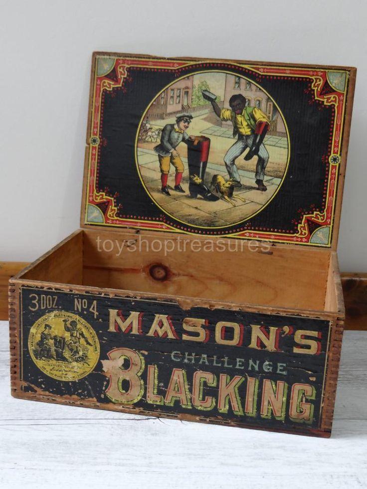 1800s Antique Wood Advertising BOX Mason'S Challenge Blacking Boot Shoe Polish | eBay