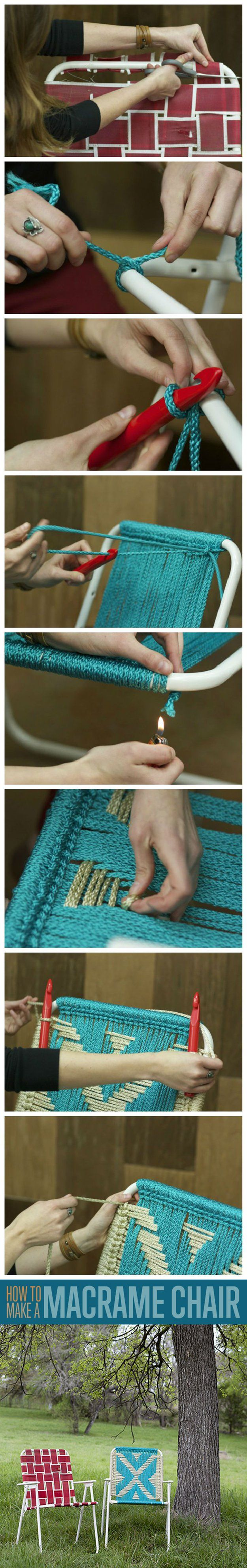 Macrame lawn chair upcycle...... if I ever have this kind of time, this is a cool idea.