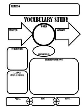 This is an image of Terrible Vocabulary Graphic Organizers Printable