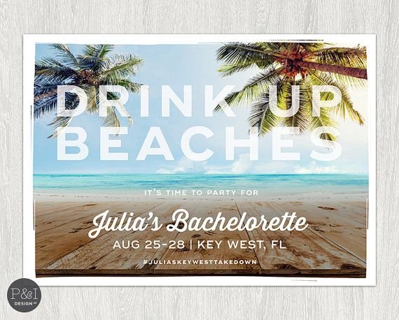 Drink Up Beaches  Bachelorette Beach Cheers by paperandinkdesignco