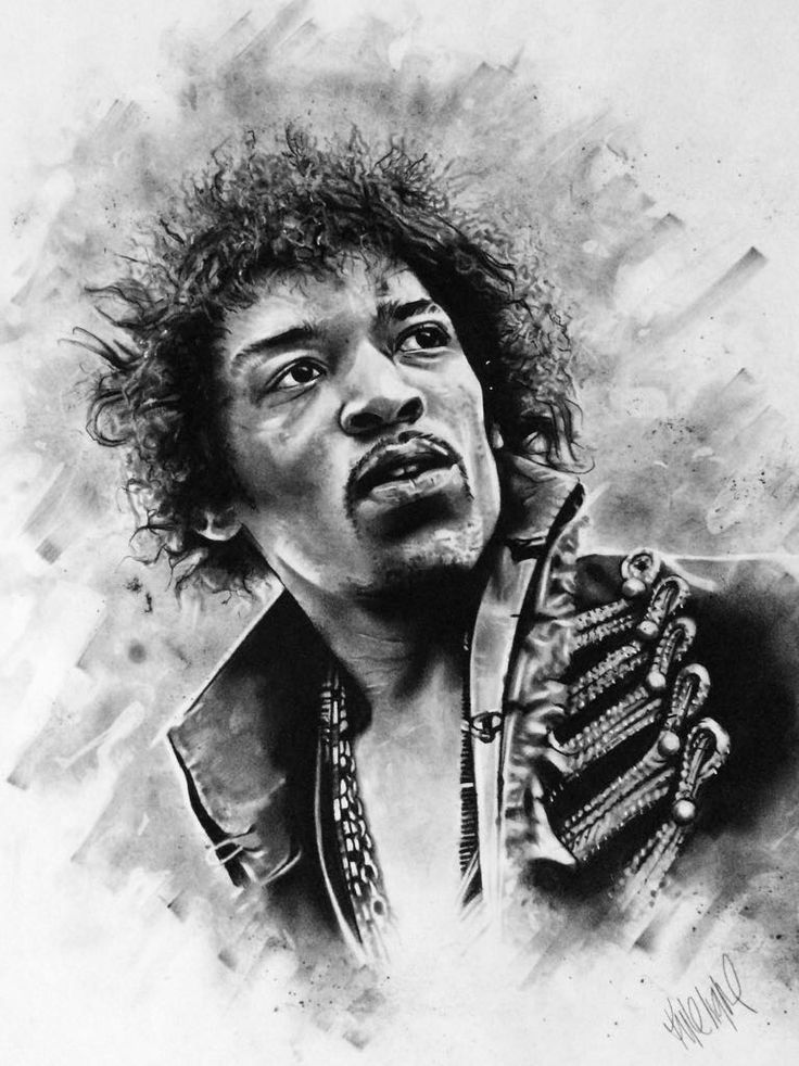 Hendrix Charcoal Original - size A1 portrait - R3,500.00 (incl. VAT). Framed (white wood)
