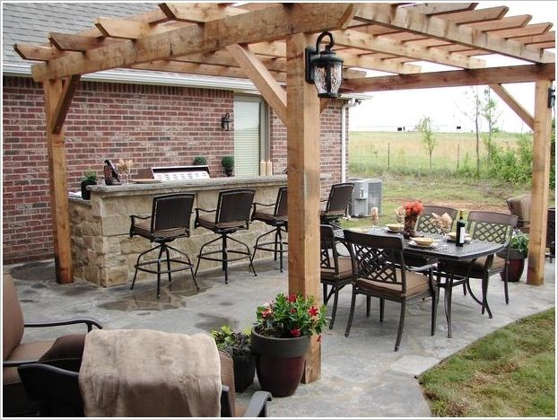 An Entertaining Grilling Area Under a Pergola