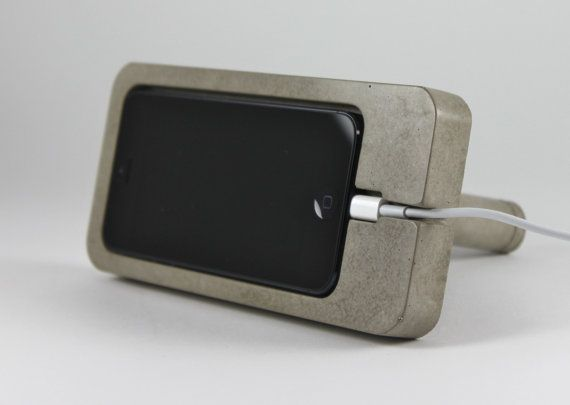 Concrete iPhone 5 Dock iPhone Docking Station by Zeitgeistfactory, $34.00