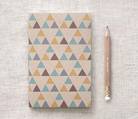 Calza Stuffer per gli uomini, per lui - regalo di laurea ispirato geometriche Notebook & matita Set - marrone giornale w / triangoli - nativi americani