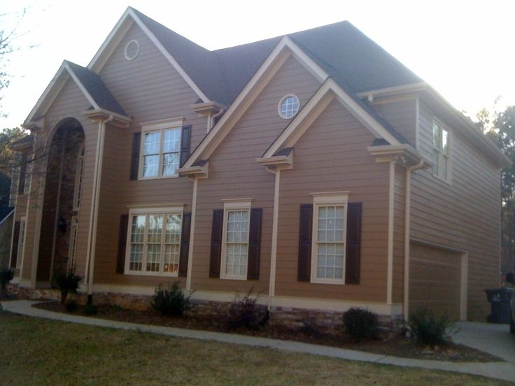 Siding 6109 hopsack trim 6106 kilim beige shutters 6076 terkish coffee cabinets by verge for Sherwin williams virtual house painter exterior