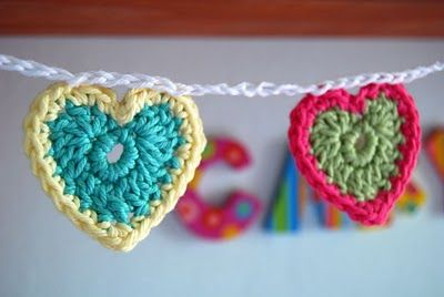 Crochet heart bunting- free pattern  I can do it all except for the treble crochet. It would be a good pattern to learn this next stitch with. This would be cute hanging just about anywhere for Valentines Day!