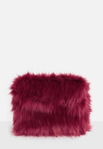 5ffe5acdfeac Red Oversized Faux Fur Clutch Bag