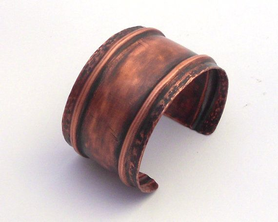 SALE - Fold Formed Copper Cuff Bracelet with a Hammered Texture and Brushed Patina