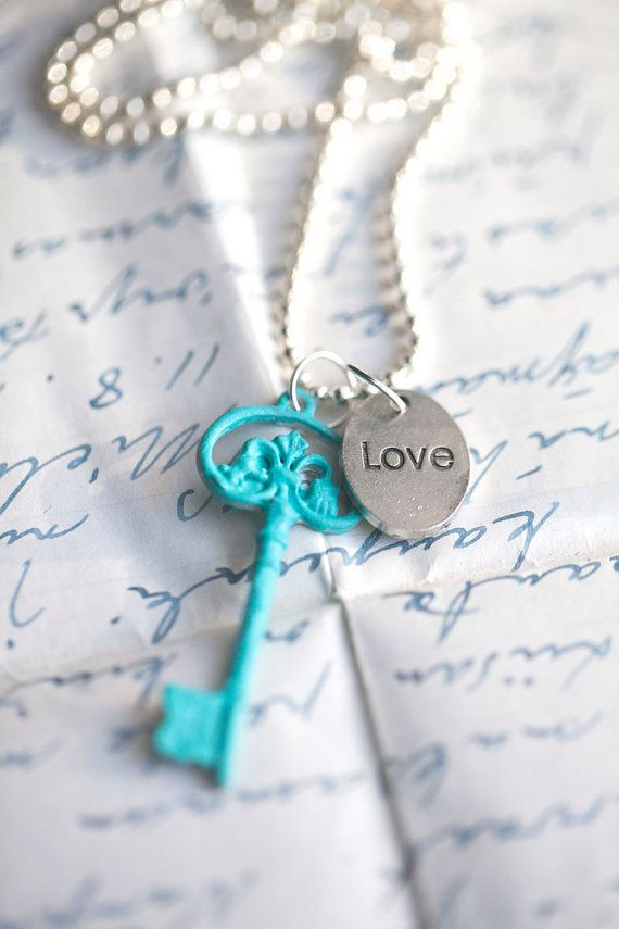 Turquoise Key . Love . Ball chain . Retro style by WhiteLilyDesign