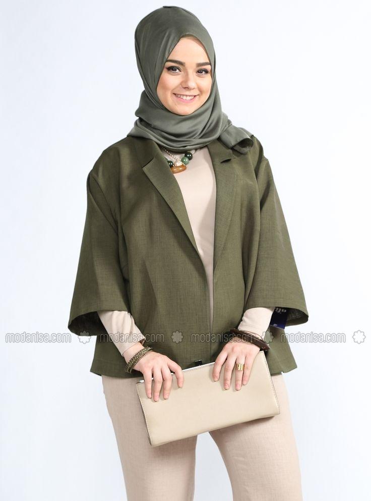 Shawl Collar Jacket - Khaki - Plus Size Jackets - Modanisa