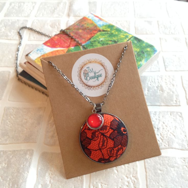 Orange with black lace fabric covered button | Pendant necklace | Chain | UK Shop by TMBoutiqueUK on Etsy