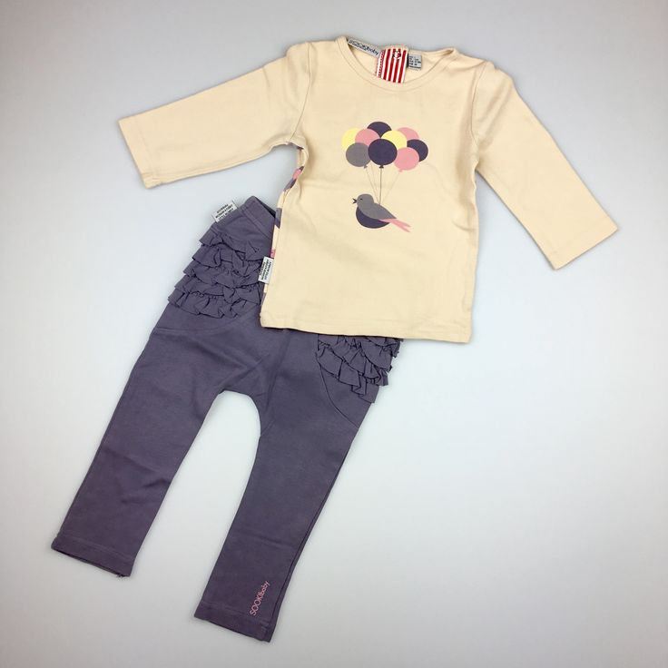 SOOKI Baby, long-sleeved t-shirt and ruffle-bum leggings set, excellent pre-loved condition (EUC), girl's size 1, $18 #kidsfashion #babyfashion #girlsfashion #sookibaby
