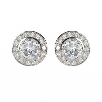 Silver and Some - Georgini Earrings, White CZ Round Earrings $189.00