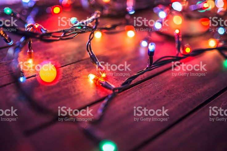 Plank wood with christmas lights royalty-free stock photo