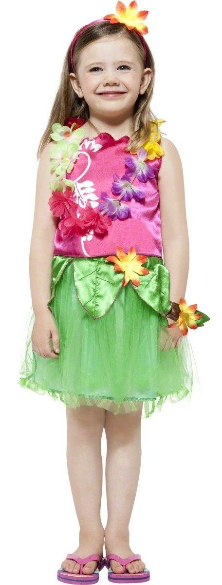 Hawaiianerin Kostüm für Kinder: Dieses Hawaiianerin Kostüm für Kinder besteht aus Rock, Top, Hawaiikette, Haarband mit Hawaiiblume und Armband (Flip-Flops nicht inbegriffen). Der grüne Rock aus Tüll ist oben mit...
