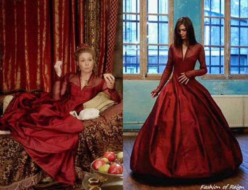 In the tenth episode Queen Catherine wears this stunning Les Habitudes Silk and Chiffon Red Gown (not available online).