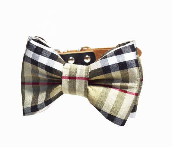 - Handmade item - Materials: silk, rivets, leather, silver hardware, horsehair - Made to order - Custom Orders Welcomed Doggie bow tie Collars created this tan plaid dog collar to make a statement. Pe
