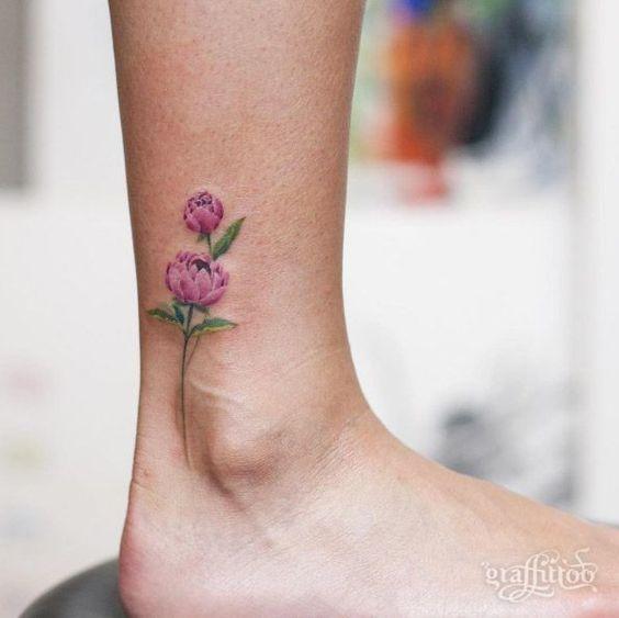 Beautiful peony tattoo on ankle by Tattooist River