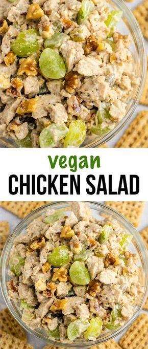 Veganer Hühnersalat mit Trauben und Pekannüssen. Das ist so gut! Ich bin besessen! #veg …   – Recipes