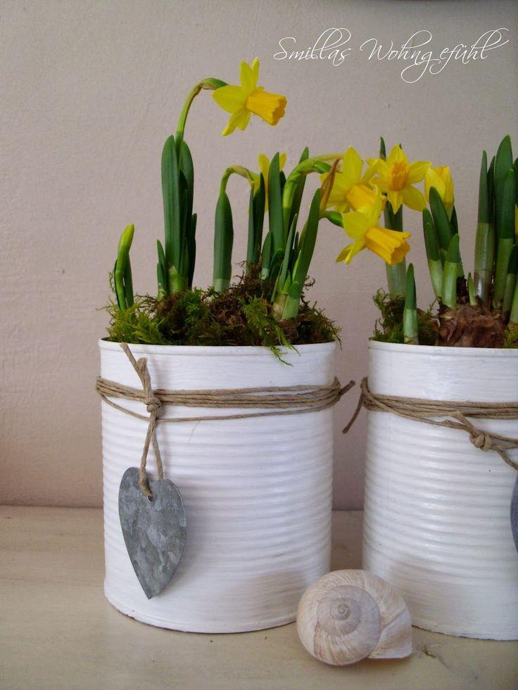 blikken verven en vullen met plantjes