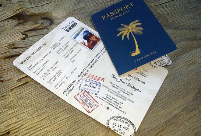 Passport wedding invitation by Beechtree Creative.
