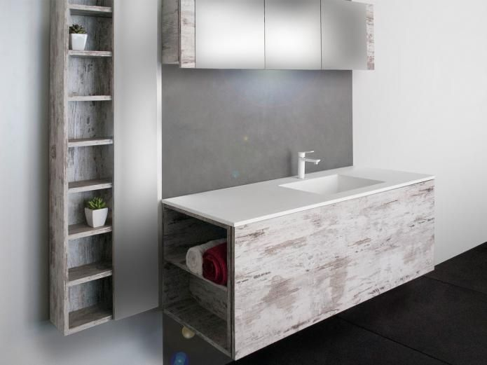 The Kado Aspect 1800 Wall Cabinet with its ample storage shelves and integrated mirror is seamlessly modern and geometric making it a beautifully unified piece for your bathroom.