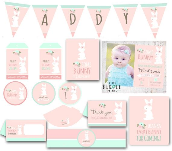 BUNNY BIRTHDAY INVITATION Some Bunny is turning one Invitation Shabby Chic Easter Party Party Pack Printables Cupcake Toppers Banner More