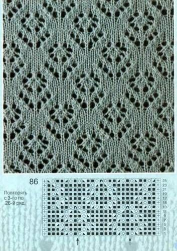 lace knitting pattern with flowers; chart
