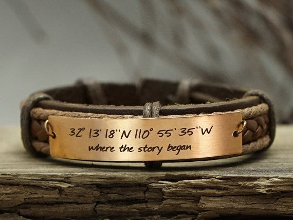 Custom Coordinates Bracelet, Custom Mens Leather Bracelet, Quote Engraved Bracelet, Rose Gold, Genuine Leather Cuff, Where the…