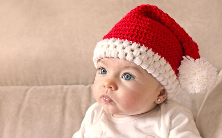 Santa Claus Hat - free 0-2 yrs crochet pattern plus video in English and Spanish by Lanas y ovillos.