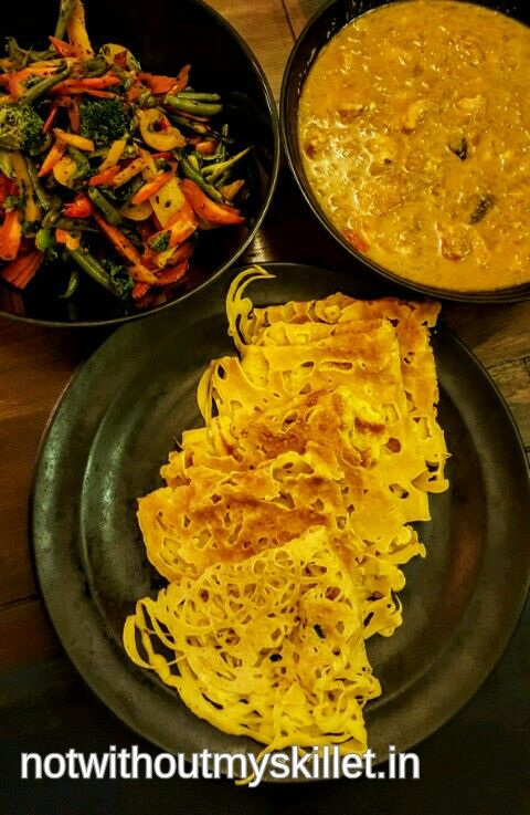 Malaysian Net Pancakes with Curry and Stir Fried Veggies