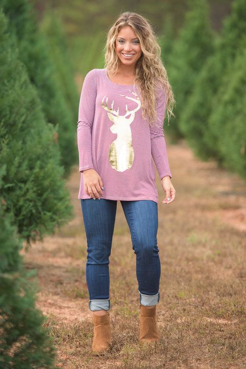 """Rocking Around Top, Red-White"" What's better than a striped top? A striped top with a metallic reindeer on it of course! #newarrivals #shopthemint"