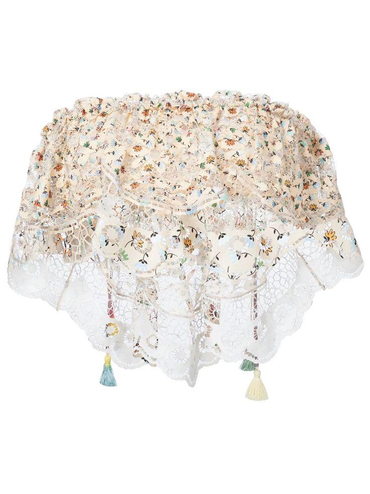 Chloé crochet printed strapless top