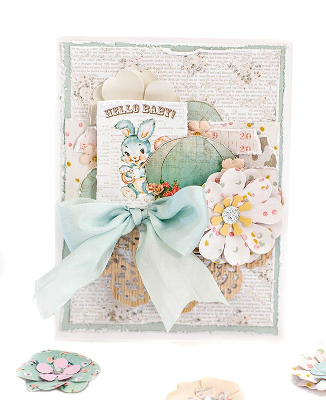 """Heaven Sent Is Shipping Soon! Could this collection be any more perfect for a baby card? Our new 6""""x6"""", 8""""x8"""", A4, and 12""""x12"""" collection kits have everything you need to create beautiful cards for the new mom and dad! Hello, Baby Card by Tiffany Solorio #heavensent #babies #cards"""