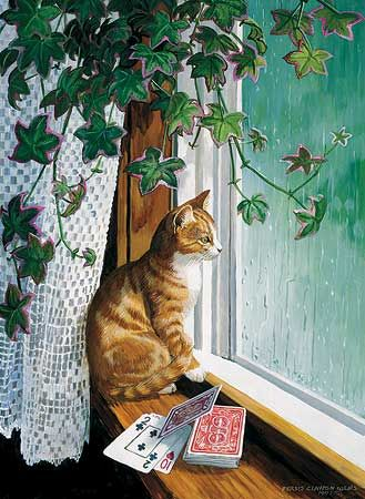 A925653073:Rainy Day-Cat Painting by Persis Weirs