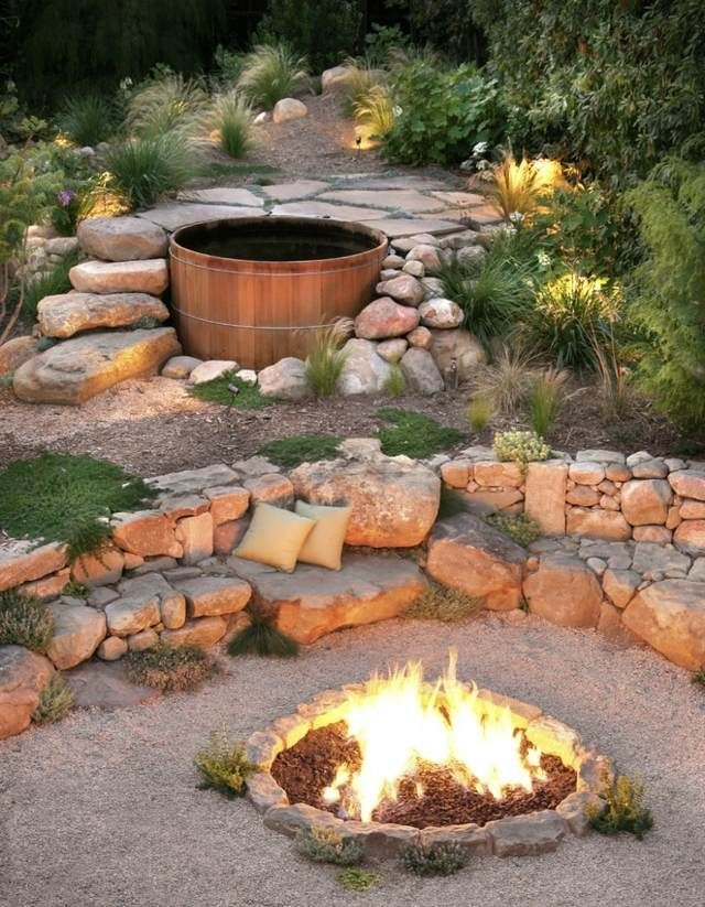 A delightfully landscaped Scandinavian firepit and spa. ... #BBQ #Grills #Smokers #Firepits