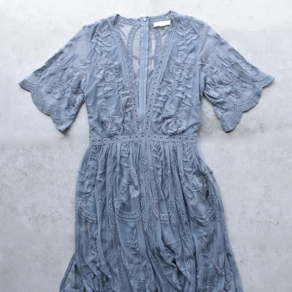 as you wish embroidered lace maxi dress (women) - dusty blue - shophearts - 1