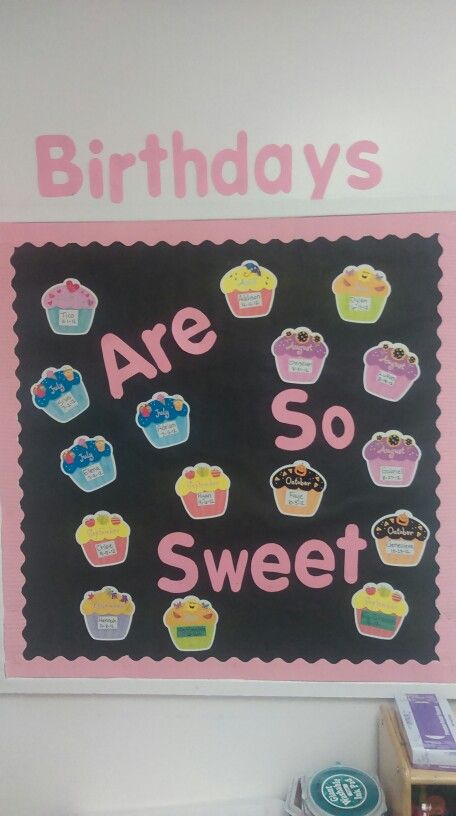 Classroom Wall Decoration With Charts ~ Cupcake birthday board preschool bulletin pinterest
