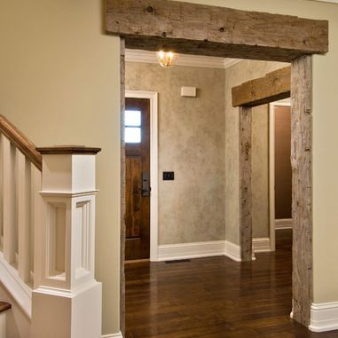 Reclaimed Beam Over Doorways | Barn Board Wall