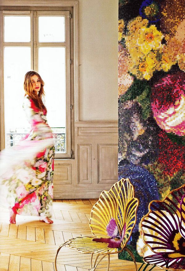 large scale floral tile wall..outstanding!