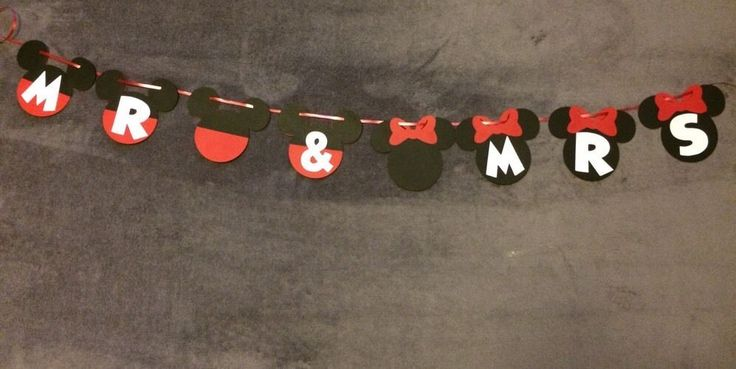 Mickey Mouse & Minnie Mouse Mr & Mrs  Wedding Banner