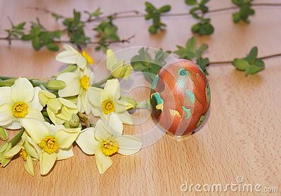 Easter arrangement on wooden background